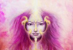 Mystic woman face with gold ornamental tattoo  Stock Images