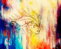 Mystic woman face and headband. pencil drawing on paper, Color effect. Stock Photos