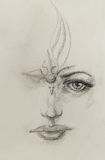 Mystic woman face. pencil drawing on paper. Stock Photography