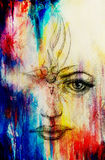 Mystic woman face. pencil drawing on paper, Color effect. Stock Photos