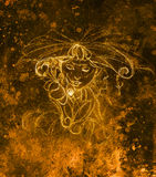 Mystic woman with flower. pencil drawing on paper, Color effect. Stock Photos