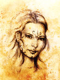 Mystic woman with ornament on face. pencil drawing on old paper. Mystic woman with ornament on face. pencil drawing on old paper Royalty Free Stock Image