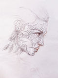 Mystic woman with ornament on face. pencil drawing on old paper. Mystic woman with ornament on face. pencil drawing on old paper Stock Image