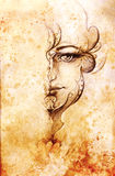Mystic woman with ornament on face. pencil drawing on old paper. Color effect. Mystic woman with ornament on face. pencil drawing on old paper. Color effect Stock Image