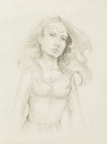 Mystic woman. pencil drawing on old paper. Royalty Free Stock Photography