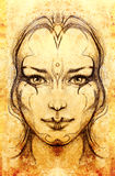 Mystic woman. pencil drawing on old paper. Mystic woman. pencil drawing on old paper Stock Image