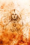 Mystic meditating woman. pencil drawing on old paper. Mystic woman. pencil drawing on old paper Royalty Free Stock Photos