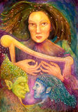 Mystic woman playing a harp with a pair of fairies listening. To her music, colorful detailed painting Stock Photo