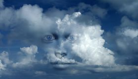 Mystic face in clouds. Mystic woman`s face in clouds. Human elements were created with 3D software and are not from any actual human likenesses stock image