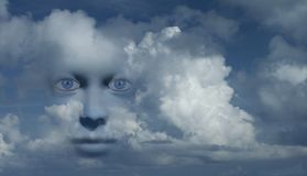 Mystic face. Mystic woman`s face in clouds. Human elements were created with 3D software and are not from any actual human likenesses vector illustration