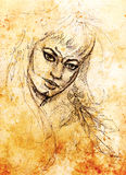 Mystic woman warior portrait. pencil drawing on old paper. Stock Images
