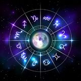 Mystic zodiac wheel with star signs in neon style. Mystic zodiac wheel with star signs in neon. Astrology circle on cosmic background and moon in middle. Mystic royalty free illustration