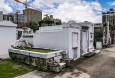 Mystical ancient cemetery of St. Louis. The tourist attraction of New Orleans. Louisiana, United States. New Orleans, Louisiana, USA - June 24, 2017: Old Royalty Free Stock Photo