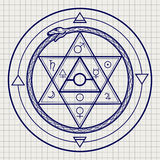 Mystical astrological sign on notebook page Royalty Free Stock Images