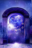 Mystical astrology. Concept with an old gate, the planet Venus, zodiac symbols and starry Universe vector illustration