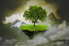 Mystical background with rock with tree. Rock with tree on mystical background stock illustration