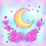 Mystical background with sky, moon, stars and red roses on a white background. Tattoo. Hipster style, pastel goth, vibrant colors. Vector illustration royalty free illustration