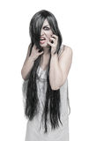 Mystical beautiful angry screaming woman Royalty Free Stock Photos