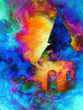 Mystical belfry with lights of space, graphic collage from painting. Stock Image