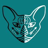 Mystical black and white cat face with esoteric hieroglyphic symbols Egyptian cat face vector Sacred animal of ancient Egypt Hand Royalty Free Stock Image