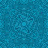 Mystical blue pattern with mandalas Stock Images