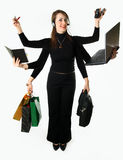 Mystical Businesswoman in a multitask mode stock images