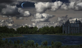 Mystical castle on the lake. 3d render Royalty Free Stock Images