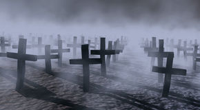 Mystical cemetery Stock Photo