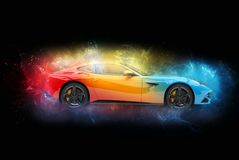Mystical colorful modern sports car. Isolated on black background stock illustration