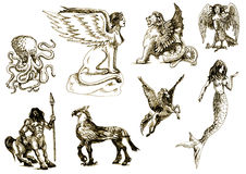 Mystical creatures 1. A large series of mystical creatures on an old sheet of paper - According to ancient Greek myths Royalty Free Stock Image