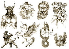 Mystical creatures 2. A large series of mystical creatures on an old sheet of paper - According to ancient Greek myths stock illustration