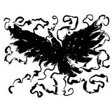 Mystical Crow. B&w line art mystical bird in flight Stock Image
