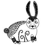 Mystical cute bunny. Mysterious forest hand-drawn line art stock photography