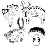 Mystical cute little deer, cute bunny and lacy forest mushrooms. Mysterious forest hand-drawn line art set stock illustration