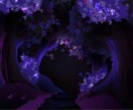 Mystical dark forest  illustration. Mystical dark glowing forest  illustration Royalty Free Stock Image