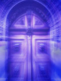 Mystical door. Old mystical portal in blue pink tones with an explosion of rays of light Royalty Free Stock Photo