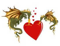 Mystical Dragons in burning love... Stock Photo