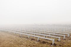 Mystical dramatic photo. grandstand in fog stock photos