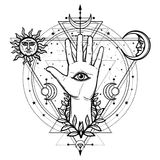Mystical drawing: divine hand, all-seeing eye, circle of a phase of the moon. Sacred geometry. Esoteric, paganism. Vector illustration isolated on a white royalty free illustration