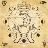 Mystical drawing: human hands hold the moon. Sacred geometry. Alchemy, magic, esoteric, occultism. Background - imitation of old paper. Vector Illustration royalty free illustration
