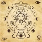 Mystical drawing: human hands hold the sun. Circle of a phase of the moon. vector illustration