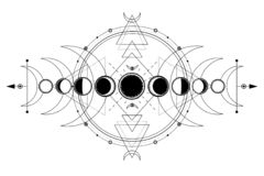 Free Mystical Drawing: Phases Of The Moon, Energy Circles. Sacred Geometry. Stock Image - 143003421