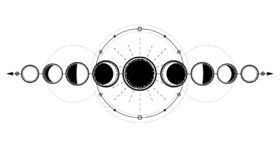 Free Mystical Drawing: Phases Of The Moon, Energy Circles. Sacred Geometry. Stock Photography - 143003422