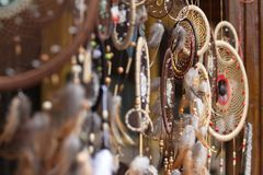 Free Mystical Dream Catchers At The Market Stock Photography - 118205312