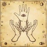 Mystical emblem human hands, Eye of Providence. Stock Photo