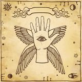 Mystical emblem human winged hand. Symbol of an angel. Eye of Providence. Esoteric, Religion, occultism. Background - imitation of old paper. Vector Stock Image