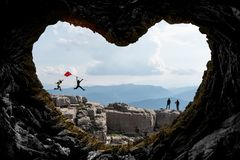 mystical, fascinating and creative mountaineering concept stock photo