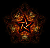 Mystical fiery star. Wiccan fiery star, decorated with red pattern on a black background Royalty Free Stock Images