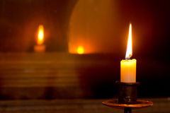 Mystical flaming candle Stock Images