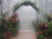 Mystical Flower Entrance. A foggy entrance filled with flowers and rays of light Stock Image